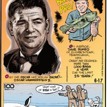 "1. Only one Oscar has won an ""Oscar"" - Oscar Hammerstein II. 2. On average, Dave Romeo of Elizabethtown, Pennsylvania, has caught and released more than 1,000 bass a year for the last 25 years! 3. Early explorers thought penguins were fish!"