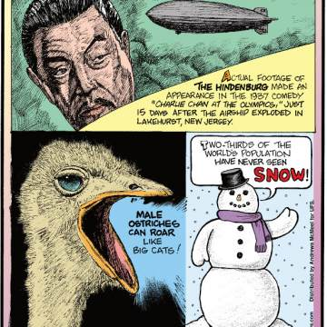 """1. Actual footage of The Hindenburg made an appearance in the 1937 comedy """"Charlie Chan at the Olympics,"""" just 15 days after the airship exploded in Lakehurst, New Jersey. 2. Male ostriches can roar like big cats! 3. Two-thirds of the world's population have never seen snow!"""