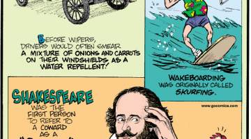 """1. Before wipers, drivers would often smear a mixture of onions and carrots on their windshields as a water repellent! 2. Wakeboarding was originally called skurfing. 3. Shakespeare was the first person to refer to a coward as a """"chicken."""""""