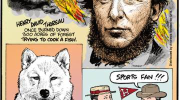 """1. Henry David Thoreau once burned down 300 acres of forest trying to cook a fish. 2. In 17th-century Japan, the mistreatment of dogs was punishable with exile or death. 3. The term """"sports fan"""" was originally used as an insult in the late 1800s."""