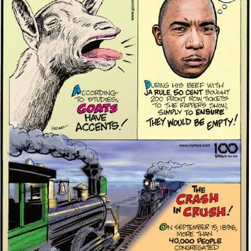 1. According to studies, goats have accents! 2. During his beef with Ja Rule, 50 Cent bought 200 front row tickets to the rapper's show, simply to ensure they would be empty! 3. The crash in crush! On September 15, 1896, more than 40,000 people congregated in Crush, Texas, to watch two trains crash into each other.