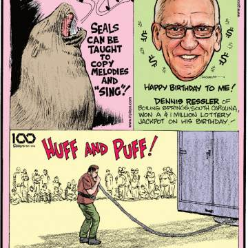 """1. Seals can be taught to copy melodies and """"sing""""! 2. Dennis Ressler of Boiling Springs, South Carolina, won a $1 million lottery jackpot on his birthday! 3. Brian Jackson applied enough pressure to fill 227,000 party balloons in order to lift a 5,000-pound trailer!"""