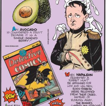 1. An avocado is considered a fruit because it is a single-seeded berry! 2. Issue #27 of Detective Comics (now known as DC Comics®) featuring the first appearance of Batman was sold at auction for $1,075,500 in February 2010! 3. When Napoleon requested a rabbit hunt be arranged for him and his men, 3,000 rabbits were released from their cages. Instead of running away, the bunnies charged and attacked!