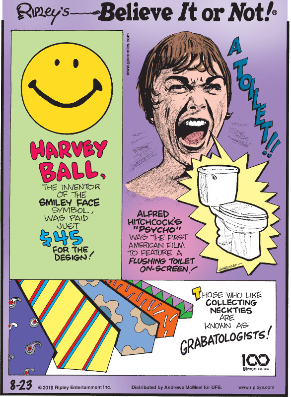 """1. Harvey Ball, the inventor of the smiley face symbol, was paid just $45 for the design! 2. Alfred Hitchcock's """"Psycho"""" was the first American film to feature a flushing toilet on-screen! 3. Those who like collecting neckties are known as grabatologists!"""