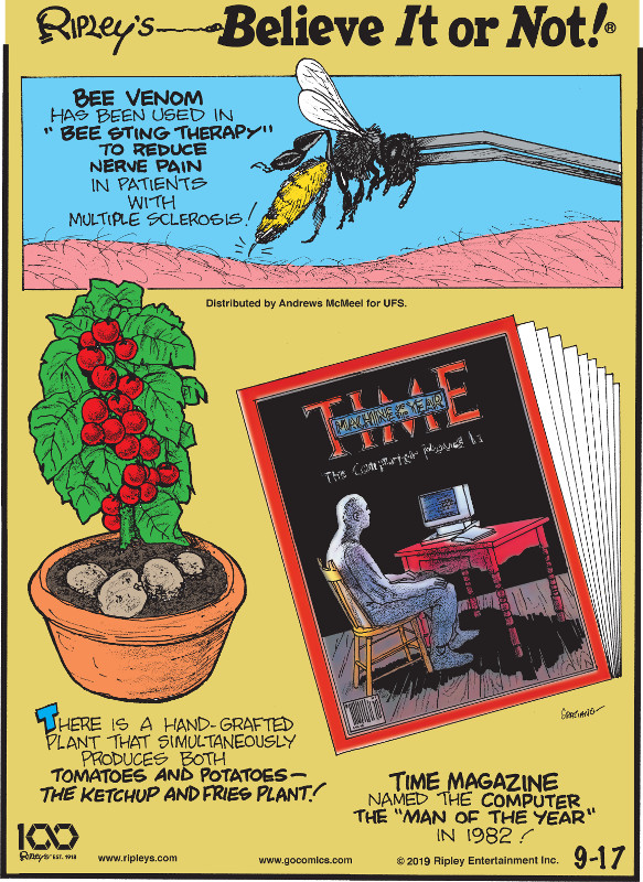 """1. Bee venom has been used in """"bee sting therapy"""" to reduce nerve pain in patients with multiple sclerosis! 2. There is a hand-grafted plant that simultaneously produces both tomatoes and potatoes - the ketchup and fries plant! 3. Time Magazine named the computer the """"Man of the Year"""" in 1982!"""