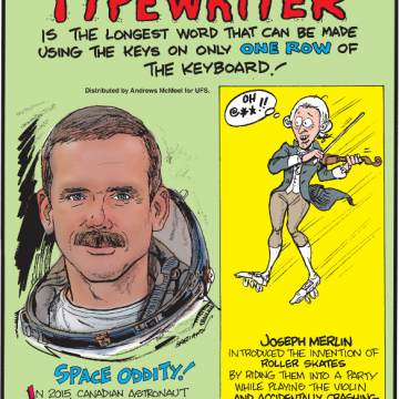 "1. ""Typewriter"" is the longest word that can be made using the keys on only one row of the keyboard! 2. In 2015, Canadian astronaut Chris Hadfield released his first album, which was recorded in space! 3. Joseph Merlin introduced the invention of roller skates by riding them into a party while playing the violin and accidentally crashing into a mirror!"