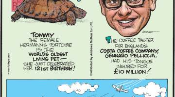 1. Tommy the female Hermann's tortoise is the world's oldest living pet - she just celebrated her 121st birthday! 2. The coffee taster for England's Costa Coffee Company, Gennaro Pelliccia, had his tongue insured for £10 million! 3. Airport pizza in Nome, Alaska, delivers pizza to customers by plane!
