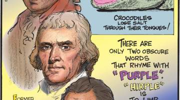 """1. Crocodiles lose salt through their tongues! 2. Former United States Presidents John Adams, Thomas Jefferson and James Monroe all passed away on Independence Day! 3. There are only two obscure words that rhyme with """"purple."""" """"Hirple"""" is to limp awkwardly, """"curple"""" is a leather strap on a saddle!"""