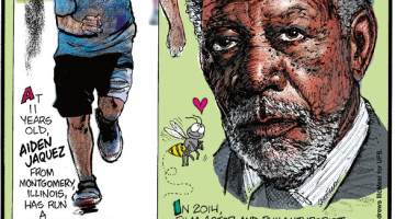 1. At 11 years old, Aiden Jaquez from Montgomery, Illinois, has run a half marathon in all 50 U.S. states! 2. In 2014, film actor and philanthropist Morgan Freeman converted his 124-acre Mississippi ranch into a bee sanctuary! 3. The arapaima is a fish that can survive up to a day out of water and has scales that are nature's equivalent of a bulletproof vest!