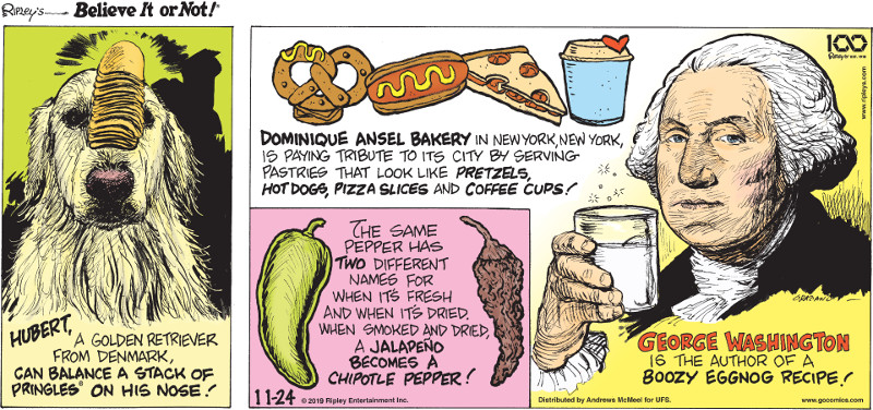 1. Hubert, a golden retriever from Denmark, can balance a stack of Pringles® on his nose! 2. Dominique Ansel Bakery in New York, New York, is paying tribute to its city by serving pastries that look like pretzels, hot dogs, pizza slices and coffee cups! 3. The same pepper has two different names for when it's fresh and when it's dried. When smoked and dried, a jalapeno becomes a chipotle pepper! 4. George Washington is the author of a boozy eggnog recipe!