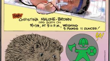 1. Baby Christina Malone-Brown was born on 9/11/19, at 9:11 P.M., weighing 9 pounds 11 ounces! 2. During the 15th century, hedgehogs were called urchins! 3. To celebrate the city's history, Copenhagen, Denmark, uses green and red crossing signals featuring a viking to moderate pedestrian crosswalks. Submitted by Richard Gibson, Lafayette, LA.
