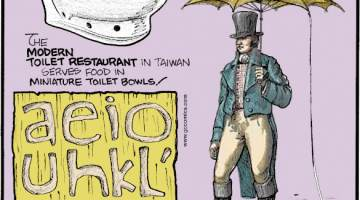1. The Modern Toilet Restaurant in Taiwan serves food in miniature toilet bowls! 2. The Hawaiian alphabet only has 13 letters - five vowels and eight consonants! 3. In 18th-century Paris, it was fashionable to wear hats and umbrellas with lightning rods attached!
