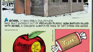 1. A school in San Pablo, Philippines, was built entirely out of recycled plastic soda bottles filled with adobe, a concrete substitute made of dirt, straw and water. 2. The stickers on fruit are adhered with food-safe adhesive. 3. Tootsie Rolls® begin life as a massive 13-pound-block before being cut down into bite-size pieces!