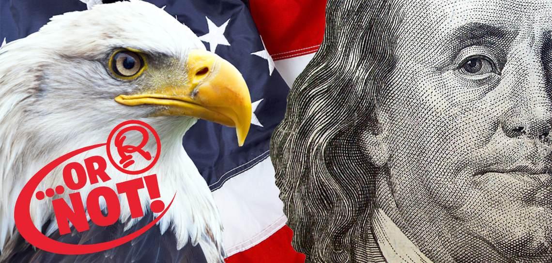 Bald eagle and Benjamin Franklin