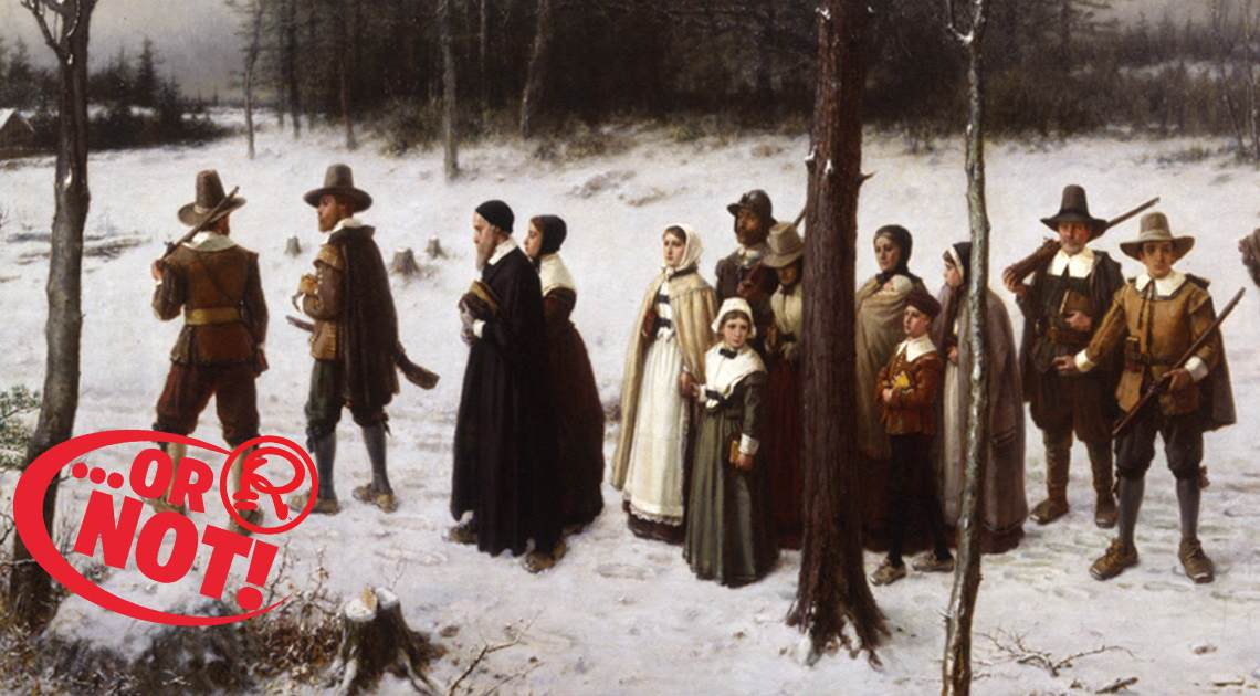 Pilgrims walking in the snow