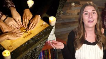 Woman commenting on Ouija board