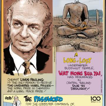 1. Chemist Linus Pauling is the only person to receive two unshared Nobel Prizes - the Nobel Prize in Chemistry and a Nobel Peace Prize! 2. A long-lost underwater Buddhist temple, Wat Nong Bua Yai, has resurfaced in central Thailand due to drought! 3. The password for the computer controls of nuclear-tipped missiles of the United States was 00000000 from 1962 to 1977 - 15 years!