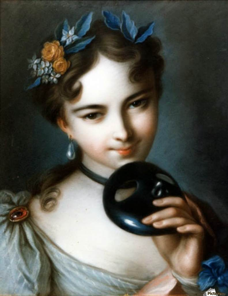 painting of a young girl removing a moretta mask