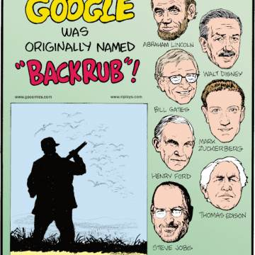 "1. Google® was originally named ""Backrub""! 2. Abraham Lincoln, Walt Disney, Bill Gates, Mark Zuckerberg, Henry Ford, Thomas Edison, Steve Jobs. What do they have in common? None of them had a college degree! 3. In Quebec, Canada, human scarecrows are armed with shotguns filled with blanks to scare off geese from a farmer's crops!"