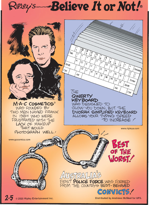 1. M·A·C Cosmetics® was founded by two men named Frank in 1984 who were frustrated with the lack of makeup that would photograph well! 2. The QWERTY keyboard was designed to slow you down, but the Dvorak simplified keyboard allows your typing speed to increase! 3. Australia's first police force was formed from the country's best-behaved convicts!
