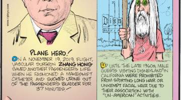 "1. On a November 19, 2019, flight, vascular surgeon Zhang Hong saved another passenger's life when he fashioned a makeshift catheter and sucked urine out of the passenger's bladder for 37 minutes! 2. Up until the late 1960s, male guests visiting Disneyland® in California were prohibited from sporting long hair or unkempt facial hair due to their association with ""un-American"" activities. 3. Working over a span of 15 years at the Hill Top Research Laboratories in Cincinnati, Ohio, Madeline Albrecht sniffed approximately 5,600 feet!"