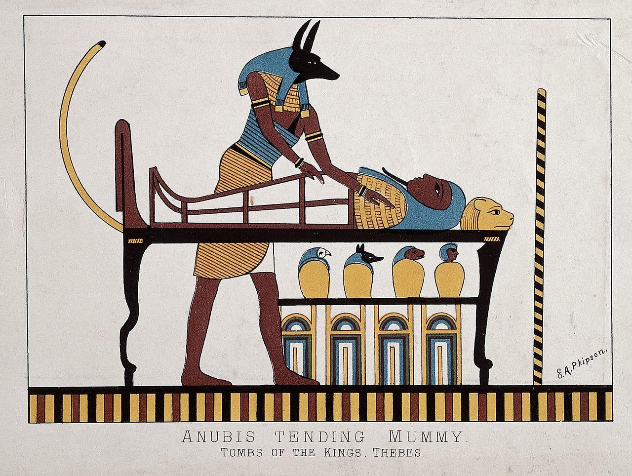anubis tending mummy
