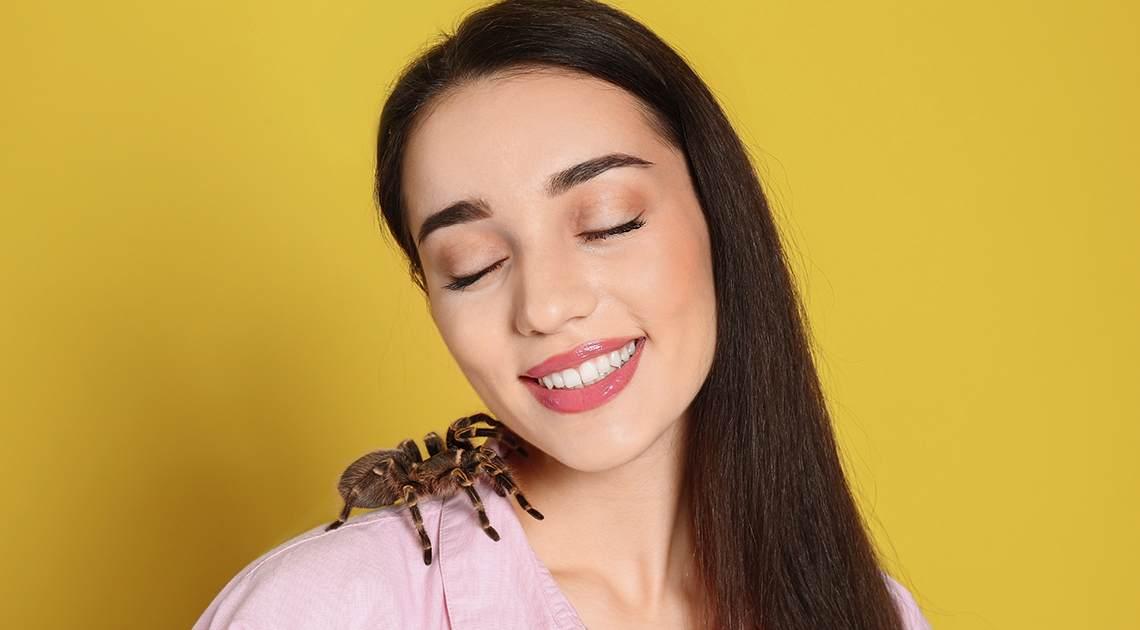 woman with tarantula