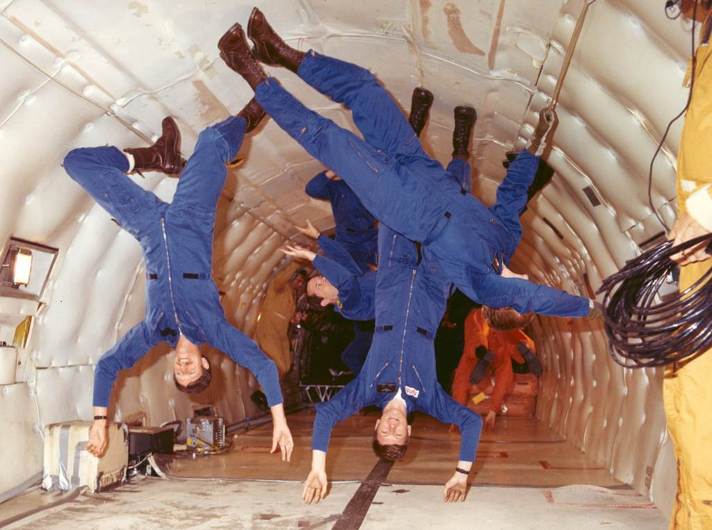 astronauts in microgravity
