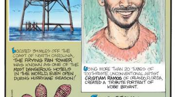 1. Located 34 miles off the coast of North Carolina, the Frying Pan Tower was known as one of the most dangerous hotels in the world, even open during hurricane season! 2. Using more than 20 tubes of toothpaste, unconventional artist Cristiam Ramos of Orlando, Florida, created a tribute portrait of Kobe Bryant. 3. Some geckos can turn the stickiness of their feet on and off with the help of tiny hairs called setae.