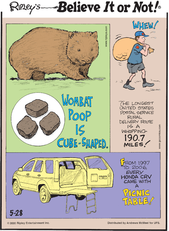1. Wombat poop is cube-shaped. 2. The longest United States Postal Service rural delivery route is a whopping 190.7 miles! 3. From 1997 to 2006, every Honda CRV came with a picnic table!