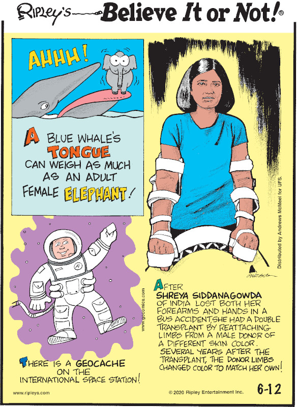 1. A blue whale's tongue can weigh as much as an adult female elephant! 2. There is a geocache on the International Space Station! 3. After Shreya Siddanagowda of India lost both her forearms in a bus accident she had a double transplant by reattaching limbs from a male donor of a different skin color. Several years after the transplant, the donor limbs changed color to match her own!