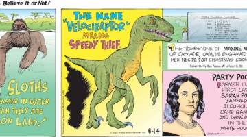 """1. Sloths are faster in water than they are on land! 2. The name """"Velociraptor"""" means speedy thief. 3 The tombstone of Maxine Menster of Cascade, Iowa, is engraved with her recipe for Christmas cookies. Submitted by Dan Paulun, W. Lafayette, OH. 4. Former U.S. First Lady Sarah Polk banned alcohol, card games, and dancing in the White House."""