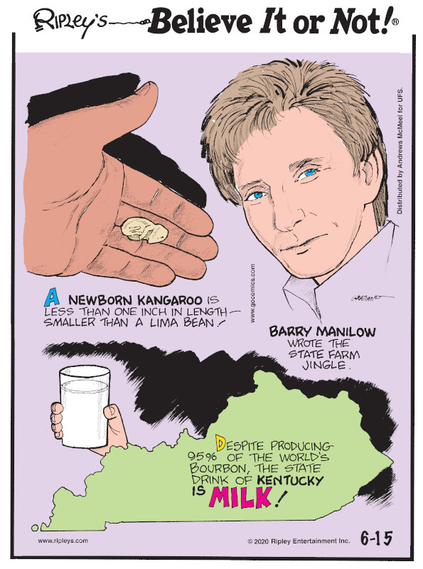 1. A newborn kangaroo is less than one inch in length - smaller than a lima bean! 2. Barry Manilow wrote the State Farm jingle. 3. Despite producing 95% of the world's bourbon, the state drink of Kentucky is milk!