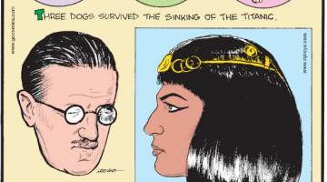 "1. Three dogs survived the sinking of the Titanic. 2. Due to his poor eyesight, James Joyce wrote much of his famous novel ""Ulysses"" in crayon. 3. Cleopatra was not Egyptian - she was the last of the Macedonian Dynasty!"