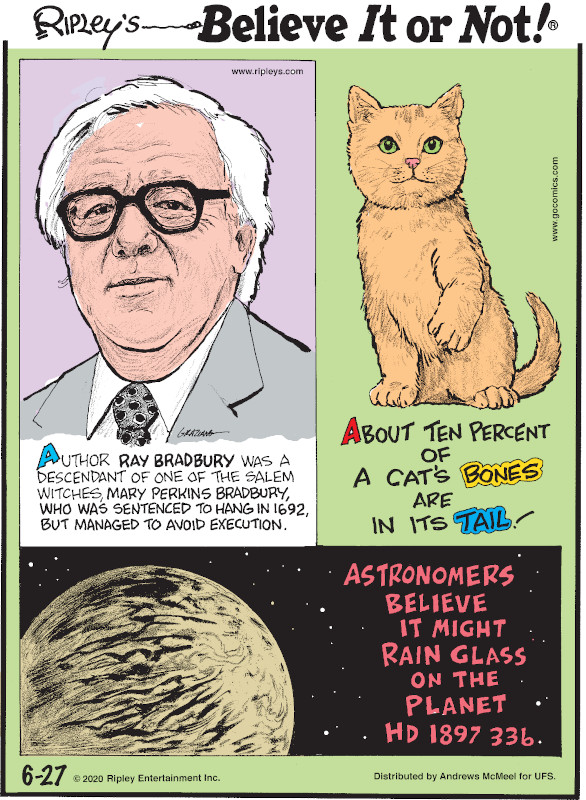 1. Author Ray Bradbury was a descendant of one of the Salem witches, Mary Perkins Bradbury, who was sentenced to hang in 1692, but managed to avoid execution. 2. About ten percent of a cat's bones are in its tail! 3. Astronomers believe it might rain glass on the planet HD 189733b.