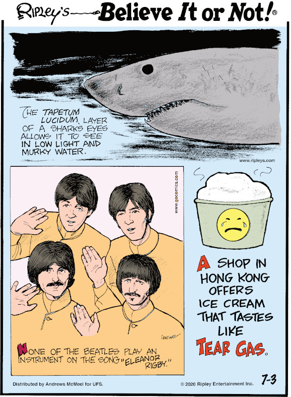 "1. The tapetum lucidum layer of a shark's eyes allows it to see in low light and murky water. 2. None of the Beatles play an instrument on the song ""Eleanor Rigby."" 3. A shop in Hong Kong offers ice cream that tastes like tear gas."