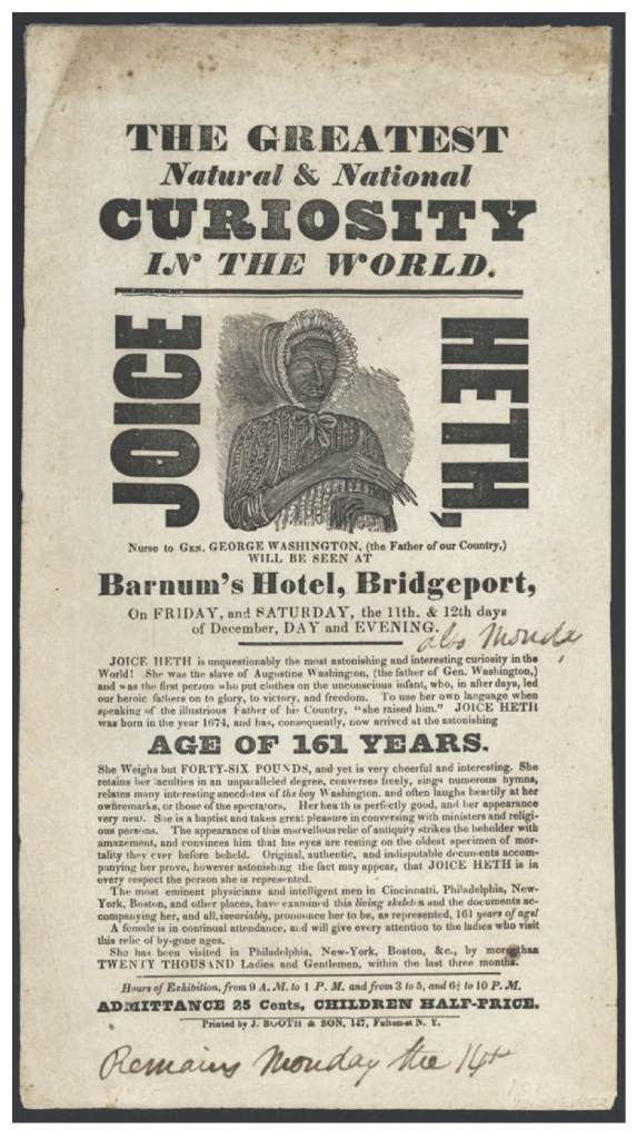 Joice Heth Barnum Poster