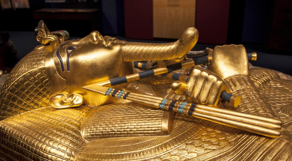 Tutankhamun's sarcophagus at the Tutankhamun exhibition