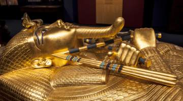 Tutankhamun's sarcophagus at the Tutankhamun exhibition