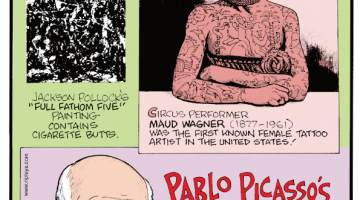 """1. Jackson Pollock's """"Full Fathom Five"""" painting contains cigarette butts. 2. Circus performer Maud Wagner (1877-1961) was the first known female tattoo artist in the United States! 3. Pablo Picasso's work has been stolen more than any other artist."""