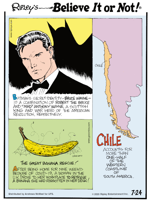 """1. Batman's secret identity - Bruce Wayne - is a combination of Robert the Bruce and """"Mad"""" Anthony Wayne, a Scottish king and war hero of the American Revolution, respectively. 2. After being home for nine weeks because of COVID-19, a woman in the U.K.drove to her workplace to retrieve a banana she had forgotten in her desk! 3. Chile accounts for more than one-half of the western coastline of South America."""