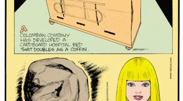 """1. A Colombian company has developed a cardboard hospital bed that doubles as a coffin. 2. The purpose of spherical man-made tools found at dig sites around the world and spanning millions of years stumped archaeologists for decades until it was recently determined they could be """"bone crackers"""" used to get marrow. 3. One hundred Barbie Dolls are sold every minute!"""