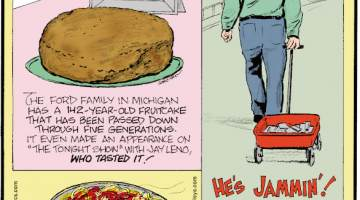 "1. The Ford Family in Michigan has a 142-year-old fruitcake that has been passed down through five generations. It even made an appearance on ""The Tonight Show"" with Jay Leno, who tasted it! 2. ""Linguine"" means ""little tongues"" in Italian. 3. Berlin artist Simon Weckert created virtual traffic jams on Google Maps by pulling a red wagon filled with 99 cellphones up and down mostly empty streets."