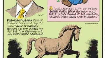 """1. President Obama received advance copies of the TV show """"Game of Thrones"""" because he was unable to fit the TV screening into his busy work schedule. 2. A rare unopened copy of the 1985's Super Mario Bros. recently sold for $114,000, making it the highest-selling video game sold at auction! 3. Leonardo da Vinci's last statue - a 24-foot-high bronze sculpture of a horse - took over 500 years to complete."""