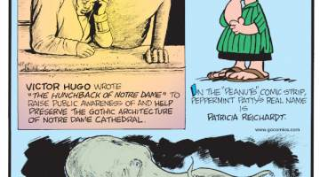 """1. Victor Hugo wrote """"The Hunchback of Notre Dame"""" to raise public awareness of and help preserve the gothic architecture of Notre Dame Cathedral. 2. In the """"Peanuts"""" comic strip, Peppermint Patty's real name is Patricia Reichardt. 3. Giant Pacific octopuses lay around 56,000 eggs at a time!"""