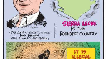"""1. The Da Vinci Code"""" author Dan Brown was a failed pop singer! 2. Sierra Leone is the roundest country. 3. It is illegal to kill Bigfoot in Washington state."""