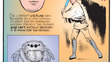 """1. The current U.S. flag was designed by a high school student for an American history project. The student, Bob Heft, initially received a B-minus for the design. 2. A baby spider is called a spiderling. 3. The iconic hum of a """"Star Wars"""" lightsaber was achieved by pairing the sound of an idle film projector and the buzz of an old TV set."""