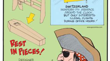 1. Switzerland monitors its airspace around the clock, but only intercepts illegal flights during office hours! 2. Rest In Pieces! Designer William Warren created a set of bookshelves that can be reassembled into a coffin. 3. Huh? Some pirates wore earrings because they believed it improved their eyesight!