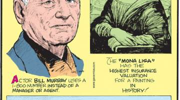 """1. Actor Bill Murray uses a 1-800 number instead of a manager of agent. 2. The """"Mona Lisa"""" has the highest insurance valuation for a painting in history! 3. The legend of the Loch Ness Monster goes back nearly 1,500 years."""