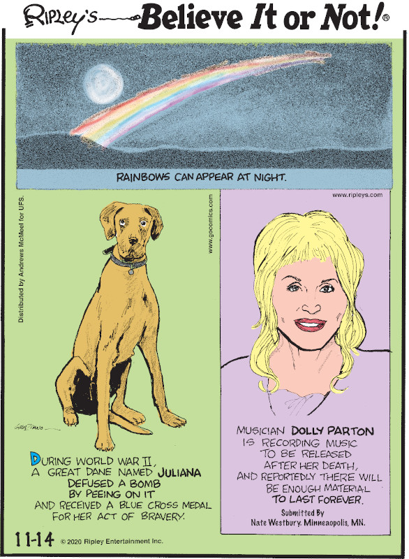1. Rainbows can appear at night. 2. During World War II, a Great Dane named Juliana defused a bomb by peeing on it and received a Blue Cross Medal for her act of bravery. 3. Musician Dolly Parton is recording music to be released after her death, and reportedly there will be enough material to last forever. Submitted by Nate Westbury, Minneapolis, MN.